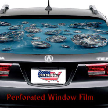 Diamond Stones Lady Fashion Full Color Print Perforated Film Truck SUV Back Window Sticker Perf012