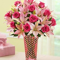 Magnificent Pink Rose & Lily Bouquet | 1800FLOWERS.COM-100547