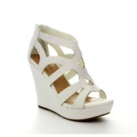 Top Moda Ella-15 Platform Sandals, White Pu, 8