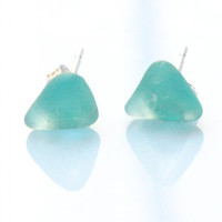 Aqua Sea Glass Earrings - Sterling Silver Posts - Genuine Sea Glass Jewelry