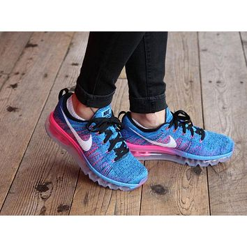 Women s Nike Flyknit Air Max Running Shoes  Black White-Blue Glo c94f99d770