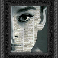 Audrey Hepburn, Dark Audrey Dictionary Art Print, Audrey Hepburn Art, Wall Decor, Dictionary Page Art, Mixed Media Digital Collage