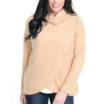 Camel Cross Front Turtleneck Sweater