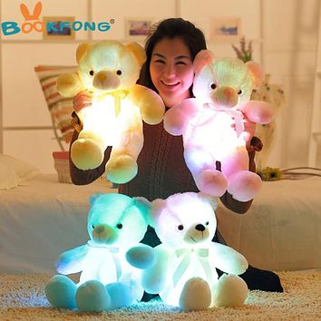 50cm Creative Light Up LED Teddy Bear Stuffed Animals Plush Toy Colorful Glowing Teddy Bear Christmas Gift for Kids (FREE SHIPPING TO USA)