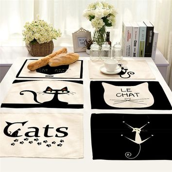 Cute Cat Dining Table Placemat Europe Style Kitchen Tool Cotton Linen Tableware Pad Coaster Coffee Tea Place Mat