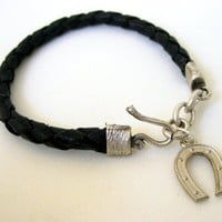 Horseshoe Wish Luck Black Leather Bracelet | Missglory - Jewelry on ArtFire