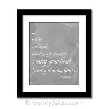I Carry Your Heart Wall Art - Choose Any Colors - twenty3stars