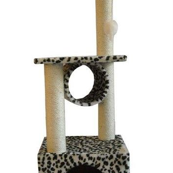 "42"" Leopard Skin CAT TREE CONDO FURNITURE SCRATCHPOST PET HOUSE 22L"