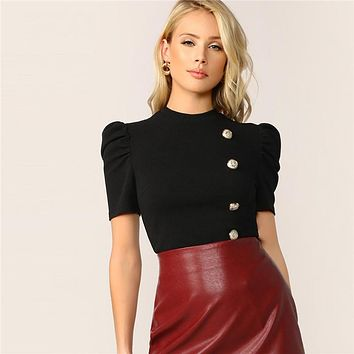 Elegant Black Gold Button Detail Puff Short Sleeve Blouse Women Slim Fitted Top Solid Office Lady Blouses