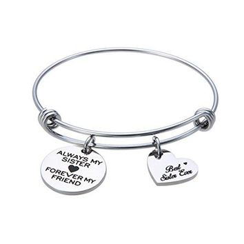 Jewelady Always My Sister Forever My Friend Engraved Stainless Steel Expandable Bangle Bracelet with Heart Charm