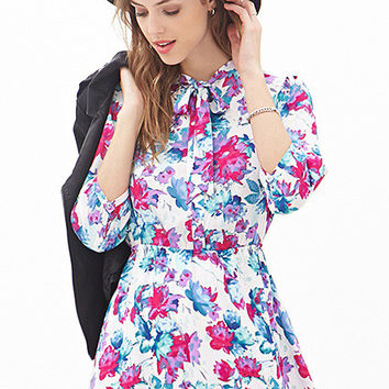 Floral Bow Belted Short Dress
