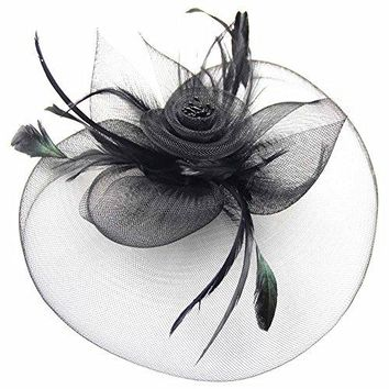 CHUANGLI Womens Large Mesh Net Bowknot Beaded Feather and Veil Fascinators Headwear With Hair Clip Hat and Brooch