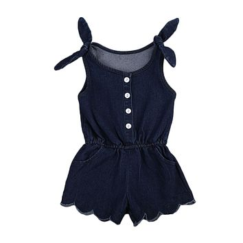 Newborn Infant Baby Girl Sleeveless Denim Romper Jumpsuit Toddler One-Pieces Outfits Summer Sunsuit Clothes