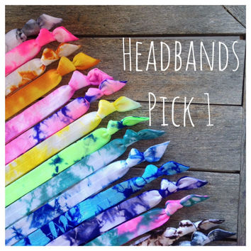 "Tie Dye Headbands 5/8"" OR 1"" You Choose"