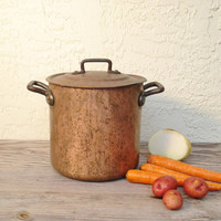 Bourgeat Copper Stewpot, Vintage Bourgeat Copper Pot, Bourgeat Copper Pot With Lid #18, Bourgeat Stockpot Made in France