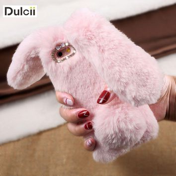Dulcii coque fundas For iPhone 7 8 Plus 6 6s Plus Case Soft Warm Rabbit Furry Fur TPU Back Case For iPhone X SE 5s 6 6s