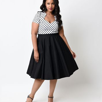 Hell Bunny Plus Size Black High Waist Paula Swing Skirt
