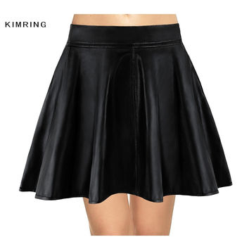 KIMRING FASHION WOMEN FAUX LEATHER SKIRT BLACK SKATER FLARE MINI SKIRT ABOVE KNEE CLUB PARTY SKIRTS FOR WOMEN