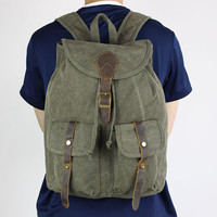 Green Fashion backpack/book backpack/school backpack/rucksack/girl backpack/canvas backpack/canvas bag/messenger/man bag