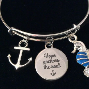 Hope Anchors the Soul Anchor Seahorse Expandable Charm Bracelet Silver Adjustable Bangle Nautical Trendy Meaningful Inspirational