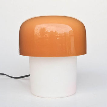 Vintage Mushroom Bedside / Table Lamp by Meblo Guzzini / 70's Design Classic Lightning / Brown