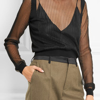 Maison Margiela - Paneled ribbed wool-blend sweater