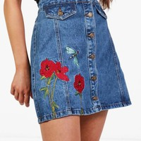 Poppy Button Through Embroidered Denim Skirt | Boohoo