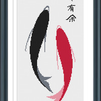 Two Fishes Cross Stitch Pattern, Fish of Fortune Stitch Chart, Cross Stitch PDF, Counted Cross Stitch Pattern, Instant Download