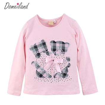 2017 Fashion spring Kids Clothing For brand domeiland Long Sleeve Girls T shirts Plaid Rhinestone Bow Cute Coton Top Clothes