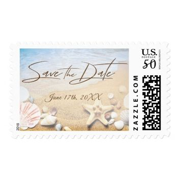 Tropical Beach Wedding Starfish Save the Date Postage