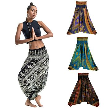 Loose Yoga Trousers Baggy Boho Aladdin Jumpsuit Harem Pants