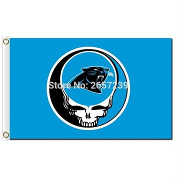 Carolina Panthers Stealing Your Face Flag 3x5FT NFL banner 100D 150X90CM Polyester brass grommets custom66,free shipping