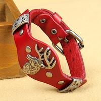 Fashion Punk  Rivets Adjustable Leather Wristband Cuff Bracelet - Great for Men, Women, Teens, Boys, Girls 2709s