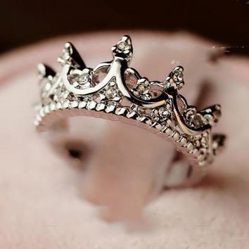 Ladies Silver Crystal Princess Tiara Ring