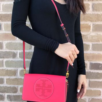 Tory Burch Perforated Logo Flat Wallet Leather Crossbody Handbag Red Ginger