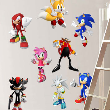 Sonic Hedgehog 8 CHARACTERS Set Decal Removable WALL STICKER