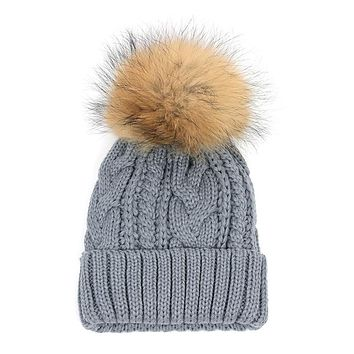 Super Deal Ladies Cable Knitting Skull Beanies Mink Fur Ball Faddism Wool Caps Hats for Girls Free Shipping