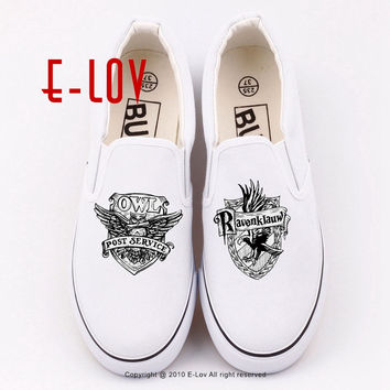 Woman Fashion 3D Galaxy HOGWARTS Canvas Shoes Harry Potter Hogwarts Deathly Hallows Printed Casual Shoes Lady Flat Shoes