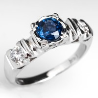 Vintage Retro Blue Sapphire & Diamond Engagement Ring 14K White Gold