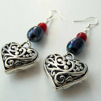 SILVER HEART EARRINGS with genuine red coral beads and by ByGerene