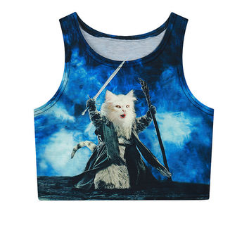 Mini Cats Crop Top Slim Sleeveless Tank Top = 4824020420