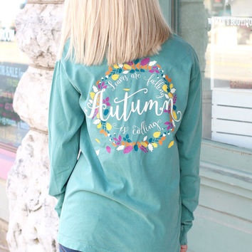 Autumn Wreath Long Sleeve Tee {L. Green}