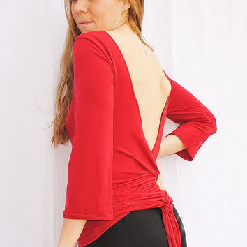 Backless Wrap Top  Blouse Open Back Top Womens Knit Top Womens Clothing in Red