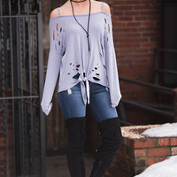 Stone Cold Distressed Off The Shoulder Tie Front Top (Lavender)