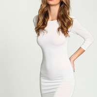 WHITE BOATNECK KNIT TEE DRESS