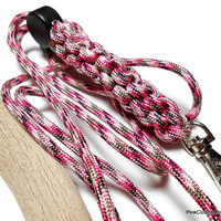 Paracord Lanyard in Pink Camo 550 Military Grade Seven Strand Paracord Breakaway and Cord Adjuster Ladies Id Badge Holder Handmade