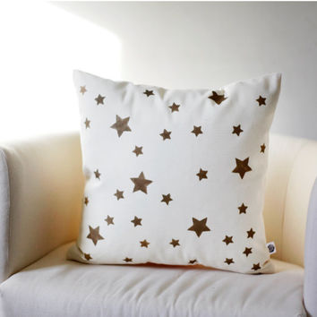 Decorative pillow cover gold STARS hand printed on cotton canvas size 16x16