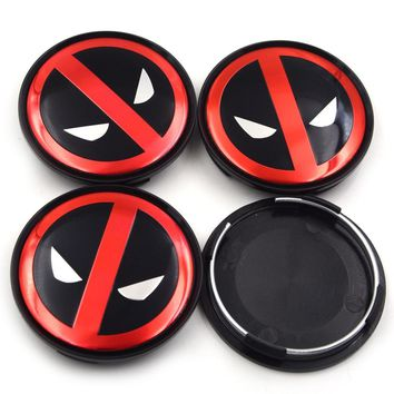 Gzhengtong 4pcs 63mm Deadpool Wheel Center Caps Emblem Badge Car Covers Hub Cap Car Styling