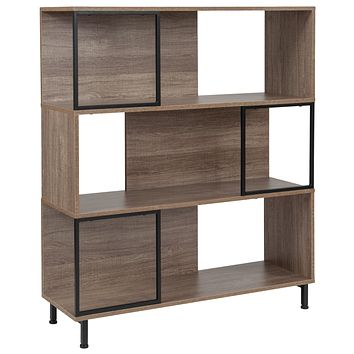 """Paterson Collection 39.5""""""""W x 45""""""""H Wood Grain Finish Bookshelf and Storage Cube"""