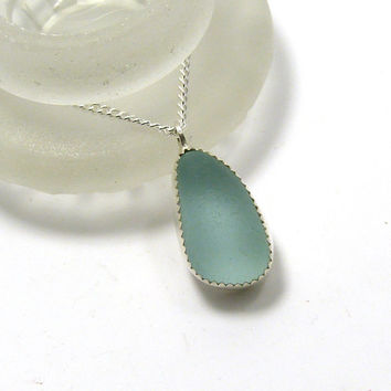 Pale Turquoise Sea Glass Necklace, Seaglass Pendant, Silver Necklace, Bezel Pendant, Beach Glass Necklace, BABETTE